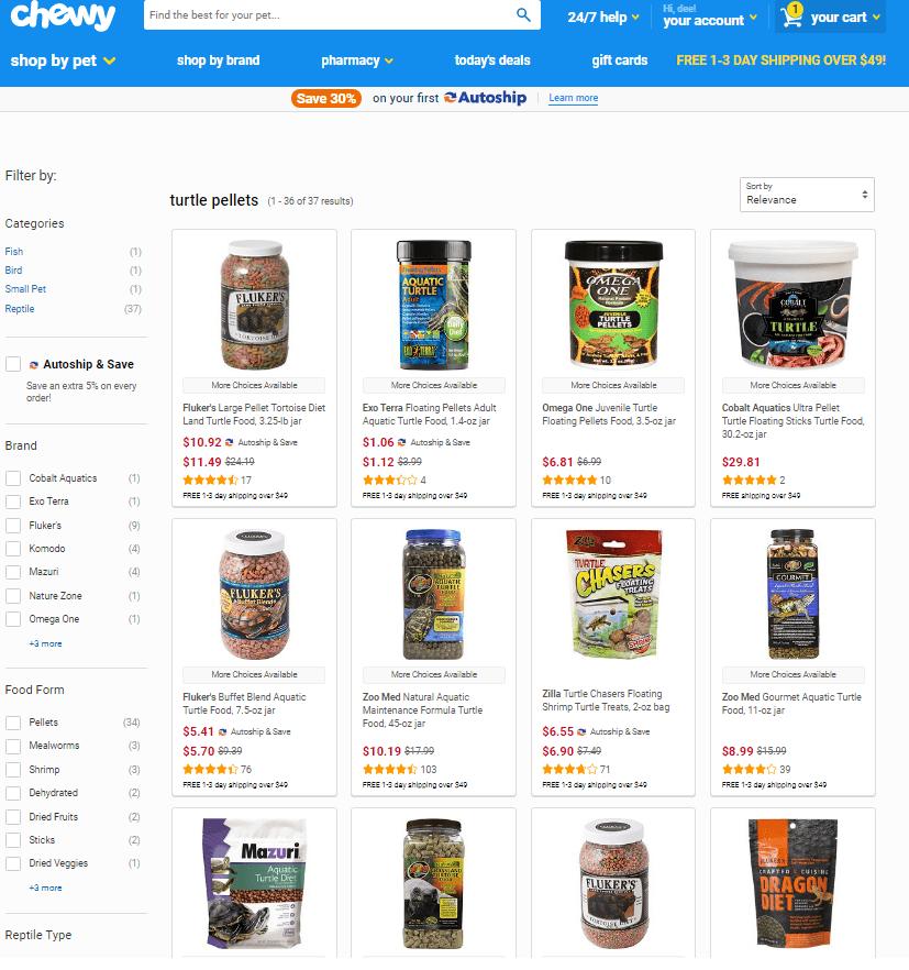order turtle food online