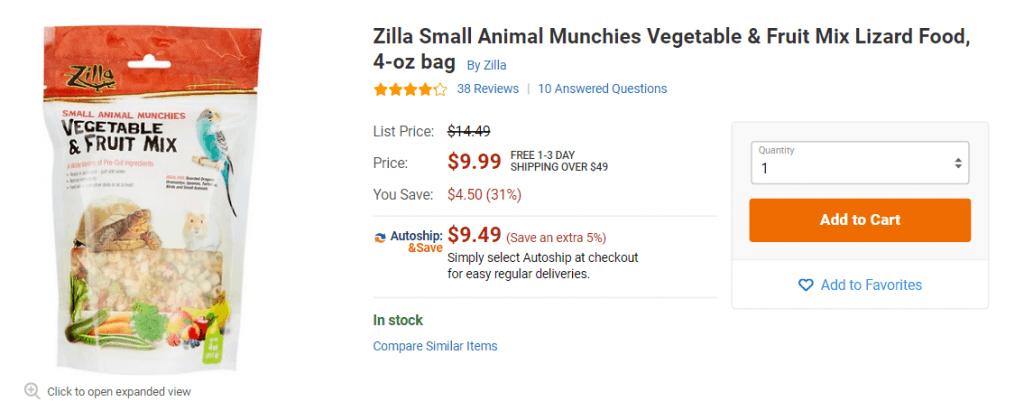 vegetable pellets for turtles